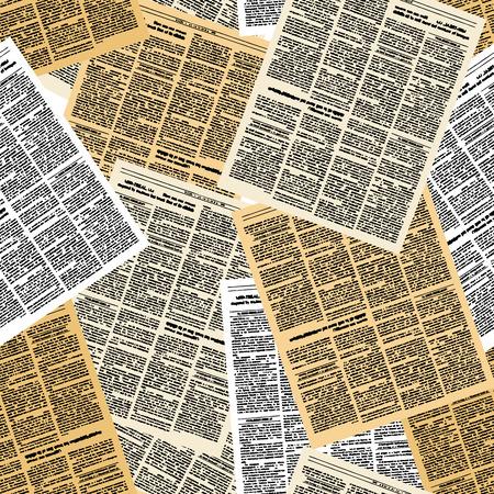 Periódico sin patrón. Vector de fondo de las páginas de las revistas de época. Ornamento de las páginas de edad