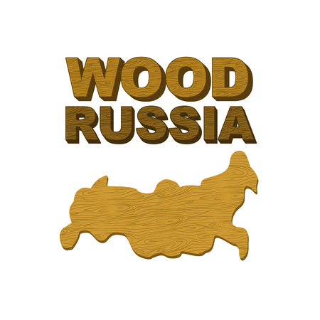 food preparation: Wood Russia. Map of country in form of  wooden cutting board for food preparation. Vector illustration