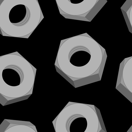 fasteners: Iron Nuts on a black background seamless pattern. Vector background of metall fasteners.