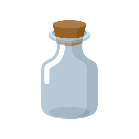 stopper: Chemical glass bottle with a wooden stopper. Magic potion bottle. Magic vessel for potions. Retro Laboratory for study of Bank. Vector illustration. jar for experiments on a white background.