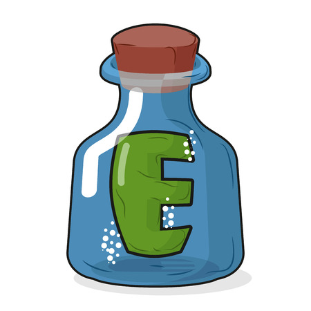 arrow poison: E in magic bottle. Letter in a bottle for laboratory and scientific research. Vector illustration. Illustration