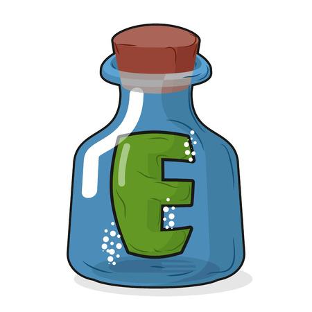 boticário: E in magic bottle. Letter in a bottle for laboratory and scientific research. Vector illustration. Ilustra��o