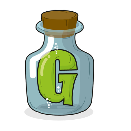 liquid g: G in  bottle for scientific research. letter in a magical vessel with a wooden stopper. Laboratory for experiments and tests.