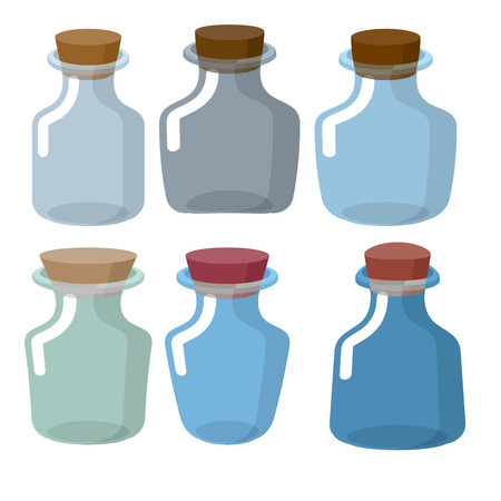 alchemist: Glass bottles of different shapes with Stoppers in laboratory. Vector retro chemical banks. Empty jar for research.