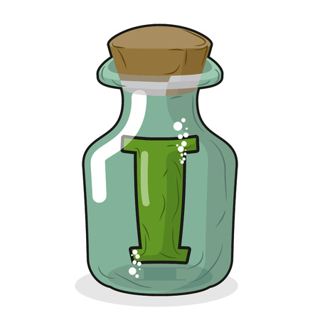 glass bottle: I in  magic jar. Letter to lab for tests and research bottle. Glass bottle with cork. Magic transparent bulb