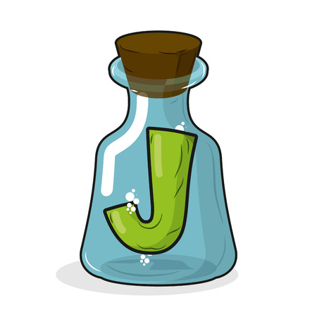 stopper: J in retro laboratory flask bottle. Letter in old magic potion bottle with wooden stopper. Bottle for scientific research and experimentation. Vector illustration