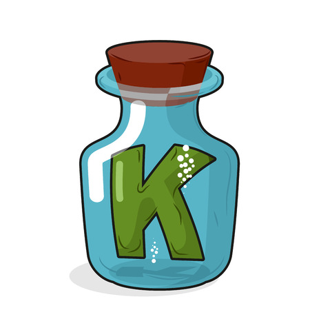 letter k: Letter in a laboratory bottle. K In a magic bottle with a wooden lid. Research letters. Vector illustration Illustration