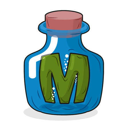 magic potion: M in bottle. Green letter in blue glass jar. Magic potion bottle and a wooden stopper. Vector illustration of a laboratory flask vessel