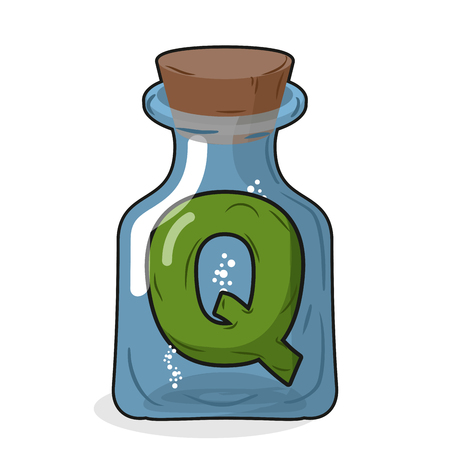 stopper: Q laboratory bottle. Letter in magical vessel with a wooden stopper. Letter Q for scientific experiments. Vector illustration of a laboratory flask vessel Illustration
