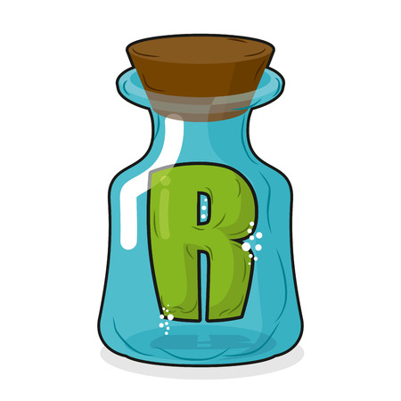 arrow poison: R in  magic jar. Letter to a lab for tests and research bottle. Glass bottle with a cork. Magic transparent bulb Illustration