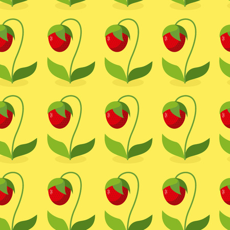 hilarious: Ripe red strawberries with green leaves seamless pattern. Vector background of berries. Hilarious vintage ornament for fabrics. Illustration