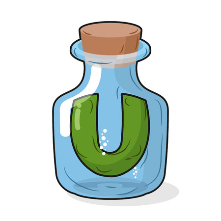 capacity: U in scientific laboratory bottle. Letter in a magic bottle with a wooden stopper. Vector illustration. Capacity for research