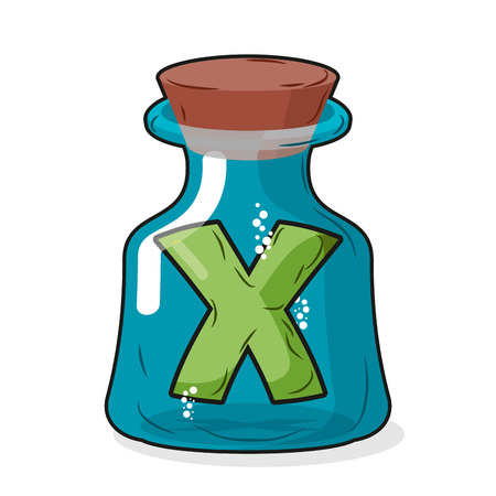 liquid x: letter X in  bottle for experiments. Letter in vessel. Laboratory research vessel. Vector illustration figure for chemical tests.