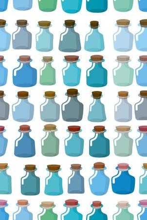 elixir: Magic glass empty bottle seamless pattern. Vector background from magic pot.