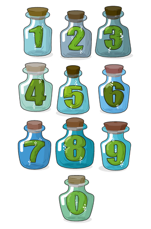 stopper: Figures in a retro bottle laboratory for experimentation and research. Numbers in magical banks with a wooden stopper. Vector illustration Illustration