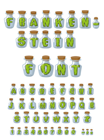Frankenstein font. Green Letters in laboratory jars for study. Experiments over  alphabet. Vector of numbers