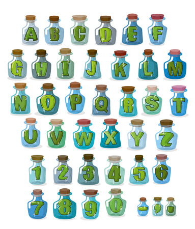 blue glass: Magic font. Green letters in  magical flasks. Alphabet jar for witchcraft. Illustration