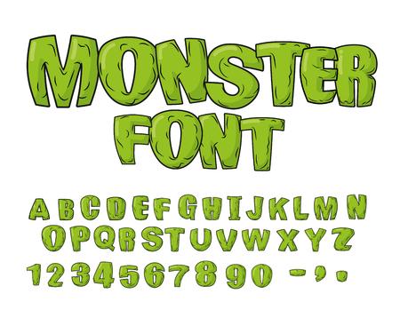 dinosaurio: Fuente Monster. Verdes letras de miedo. Alfabeto vector. Vive Abc