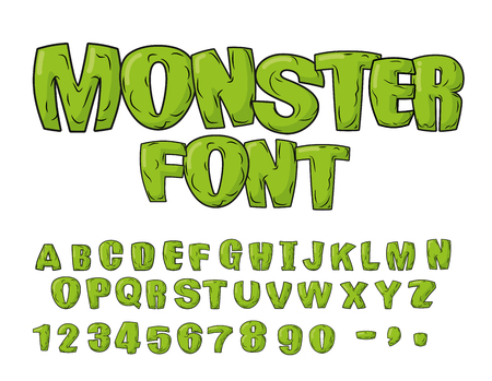 Monster font. Green scary letters. Vector alphabet. Live Abc