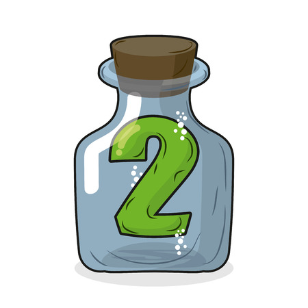 wooden figure: Figure two in laboratory bottle. Figure 2 in the magic bottle with a wooden lid. Research of two. Vector illustration Illustration
