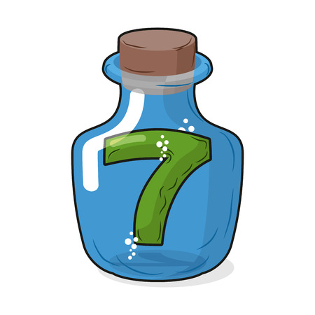 stopper: Seven scientific bottle for laboratory research. Figure 7 magic bottle with a wooden stopper. Vector illustration. Capacity for research