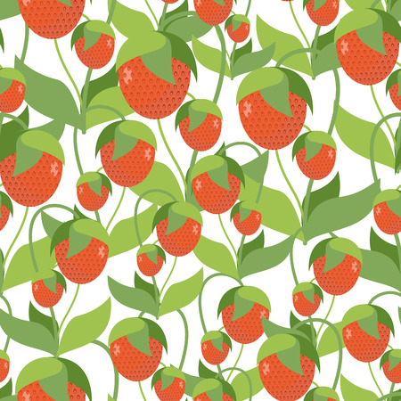 fruity: Fruity Strawberry texture. Vector seamless pattern of red berries. Fabric ornament