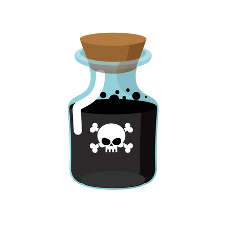 poison bottle: Poison. Bottle with a black liquid. Glass magic Bank with skull and bones. Vector illustration Illustration