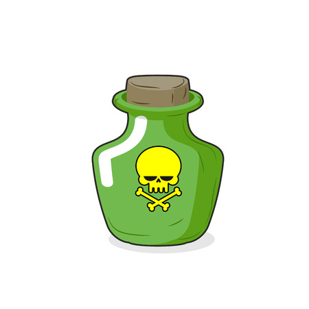 stopper: Magic Bottle with a skull. Medical bottle with a poisonous liquid. Glass Bottle with stopper. Ð¡artoon Vector illustration. Poison
