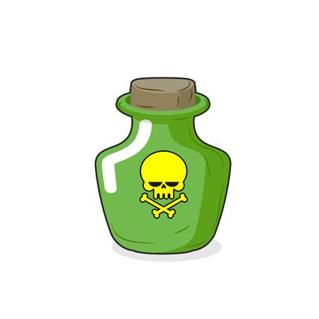 poisoned: Magic Bottle with a skull. Medical bottle with a poisonous liquid. Glass Bottle with stopper. Сartoon Vector illustration. Poison
