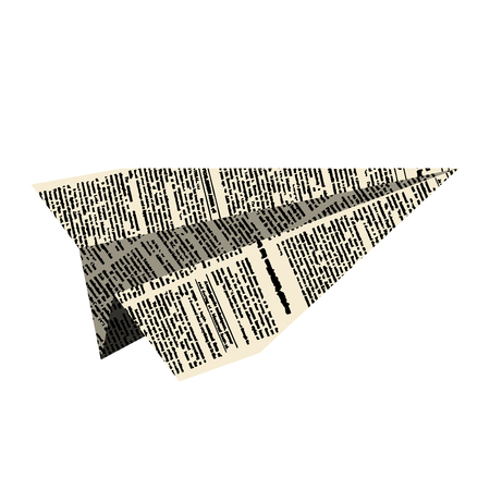 Paper plane. Aircraft from newspaper on  white background. Vector illustration.