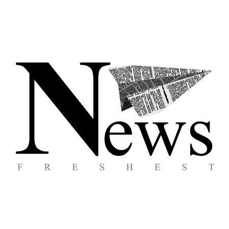 Plane of paper. Logo for newspaper. Fresh news. Vector emblem for publications