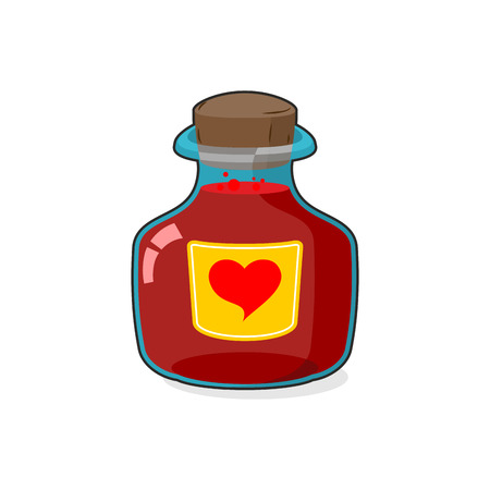 stopper: Love potion Bottle. Glass vessel with wooden stopper. Sticker heart Symbol. Magic vessel in a cartoon style. Vector illustration