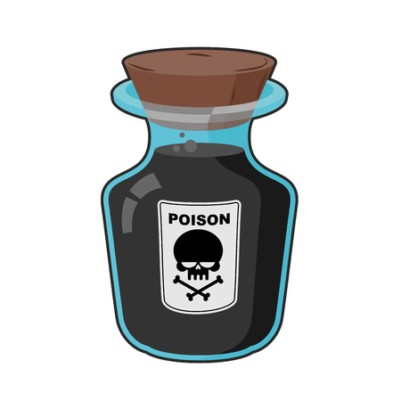 bane: Bottle with poison. Magic Vintage bottle with a black potion. Skull sticker. Life threatening. Glass vessel to death with a wooden stopper.