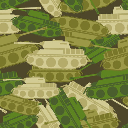 army tank: Military background from tanks. Army seamless patern. protective Camouflage of military vehicles. Soldier ornament for clothes. Illustration
