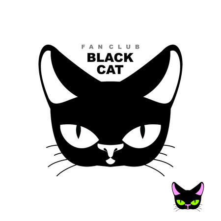 black and white image drawing: Black cat fan club.  cat lovers or cat store. Vector emblem of  pets head.