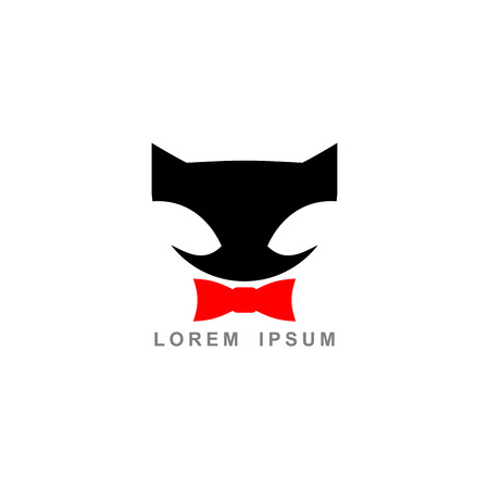 black and red cat: Black cat and Red Bow Tie. Vector  . Template Emblem business Illustration