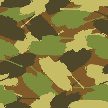 troops: Army tank texture. Protective military background of military transport. Vector Camouflage clothing for soldiers. Troops seamless patern Illustration