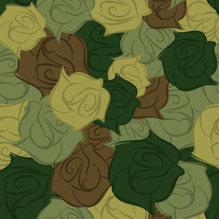 Rose army seamless pattern. Military texture of flowers. Vector flower protective camouflage. Beautiful ornament for troops Illustration