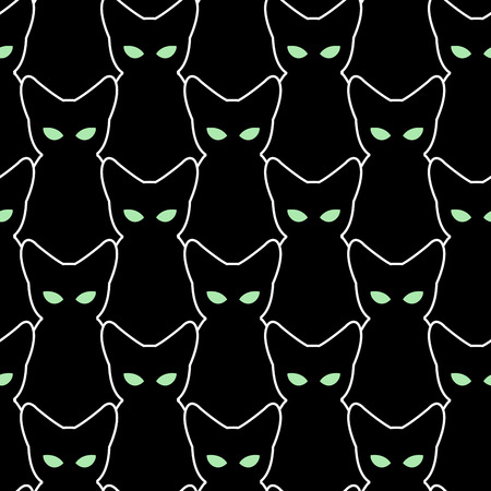 Black cat seamless pattern. Vector backgrounds for Halloween. The texture of  pets. Retro fabric Ornament. Many silhouettes cats with green eyes