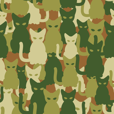 Military texture of cats. Army seamless pattern from pets. Protective camouflage for soldiers of animals. Illustration
