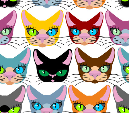 Cats seamless pattern. Many different pets. Vector background of animals. Different breeds of cats. Texture for kids fabrics