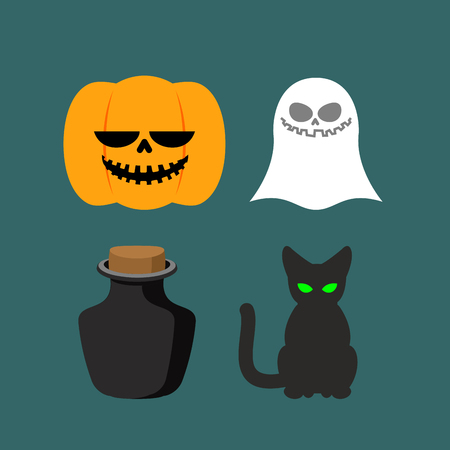 poison symbol: Set of icons for Halloween. Symbol dreaded holiday: Ghost and black cat, poison and pumpkin. Vector illustration Illustration