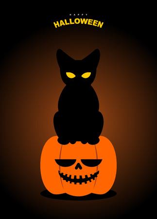 halloween black cat: Happy Halloween. Black cat sits on pumpkin at night. Terrible symbols of holiday. Illustration