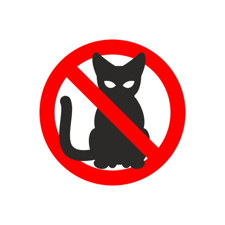 No: Stop cat. Vector sign No cats. Ban pet. Black cat silhouette. Sign ban slashed red circle