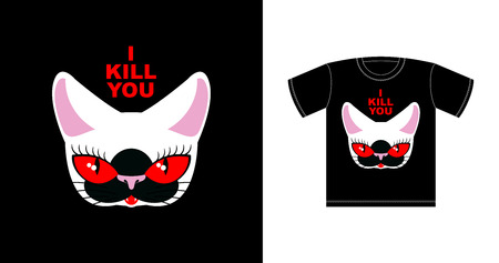 I  kill you. Angry white cat with red eyes.  Ferocious pet. Vector print t-shirt Illustration