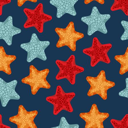 deepsea: Starfish seamless pattern. Vector background of deep-sea animals ocean. Marine Retro ornament. Illustration