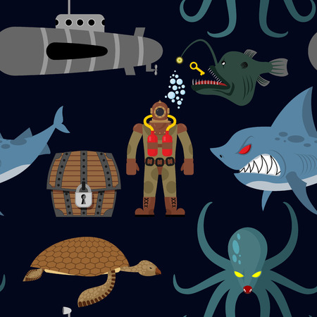 Deep sea seamless pattern. Diver and shark on black background. Sea turtle and submarine, octopus and deep-sea angler. Repeated ocean vector ornament. 일러스트