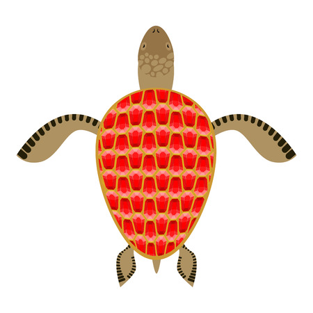 aquatic: Garnet turtle. Shell Aquatic Turtle with precious stones. Fantastic underwater species of animal. Illustration