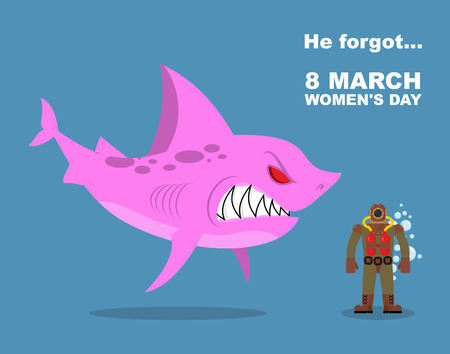 he old: He forgot about 8 March. International womens day. Wicked  Pink shark scares  diver old suit. Farted from fear go bubbles. Vector humorous greeting card holiday Illustration