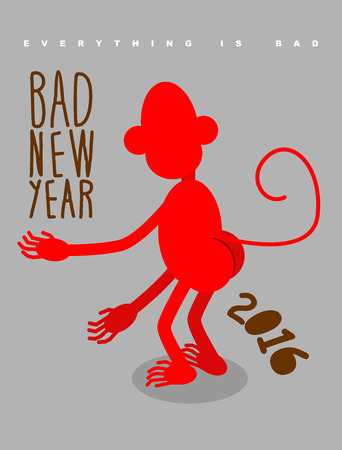 bah: Bad new year. Everything is bad. Red monkey stands back. Christmas card bully